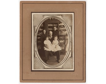 Woolsey Family Antique Mounted Photo, Family Portrait, Twin Boys, Drug Store Interior, Identified Photo, 1900s Hubbell Nebraska Photograph