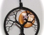 Summer Sale 20% Off - Harvest Moon Tree Life, Orange Mother of Pearl Full Moon Tree of Life set in Black Wire