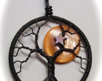 Wire Wrapped Tree of Life, Harvest Moon Tree Life, Orange Mother of Pearl Full Moon Tree of Life set in Black Wire