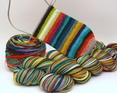 Ready To Ship: Self Striping Fingering Weight Sock Yarn, Wool and Nylon, 20 Color Stripe, Hand Dyed, SOCKtober2016
