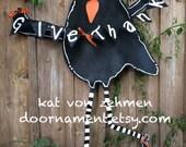Thanksgiving  Door Hanger, LARGE Screen Wire Black Crow Door Hanger, Thanksgiving Door Decor, Give Thanks Door Hanger