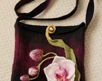 Woman felt bag, Orchid felted flowers, hand made, felted purse, designer bag,Shoulder felt bag, Maroon ,black color bag,womens fashion