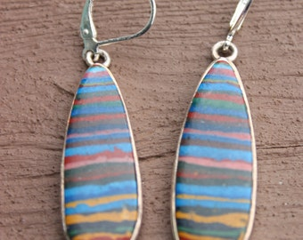 Beautiful Rainbow STone STerling Silver Dangle Earrings