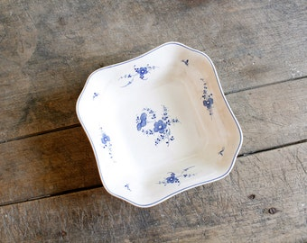 Vintage Blue Transfer Ware Bowl Square Serving Bowl Copeland Spode Leyden England China