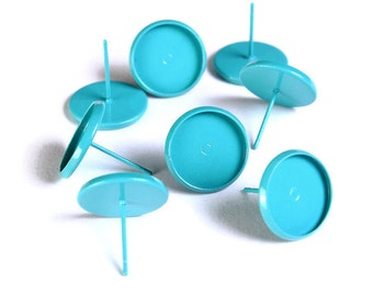 8 pcs (4 pairs) 12mm Teal blue earstud - Painted teal cabochon setting - fits 12mm cabochon - Lead nickel free (1646) - Flat rate shipping