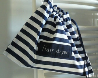 Hair dryer bag, hair dryer holder, thick cotton, nautical, stripes fabric