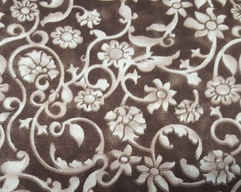 """Floral Fabric, 54"""" Wide, Tonal Scroll, Brown Fabric, Floral Fabric, 02157"""
