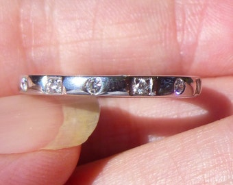 Bezel set  18KT white  gold eternity ring  wedding ring  anniversary ring  Stacker Band  Diamonds all the way around