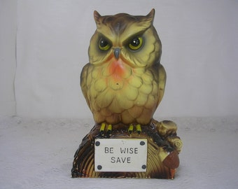 Vintage Woodland Owl Bank Be Wise Save Made in Japan