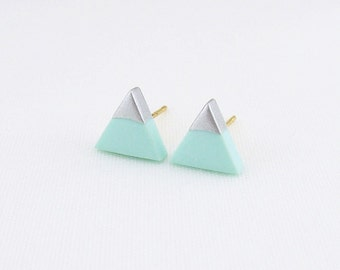 Mint - Silver Dipped Triangle Stud Earrings