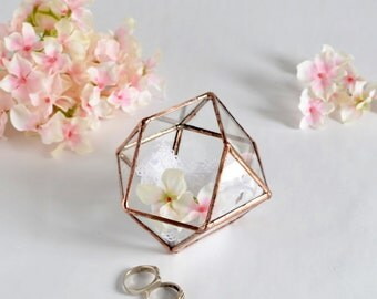 Wedding Gift, Wedding Ring Box, Glass Terrarium, Clear Glass Planter Geometric Box.