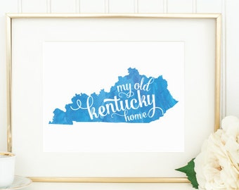 "Kentucky Watercolor Art Print -- ""My Old Kentucky Home"" -- Mirabelle Creations"