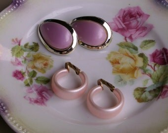 Lot of 2 Summertime Clip On Earrings Pink and Mauve 60s Jewelry