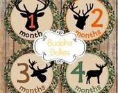 Baby Boy Month Stickers Camo Deer Antler Hunting Monthly Stickers Baby Boy Stickers Baby Milestone Sticker Baby Shower Month Stickers