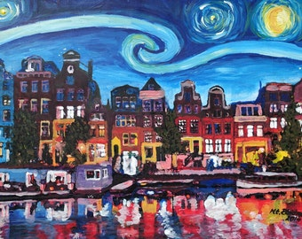 Starry Night over Amsterdam Canal with Van Gogh Inspirations - Limited Edition Fine Art Print/Original Canvas Painting