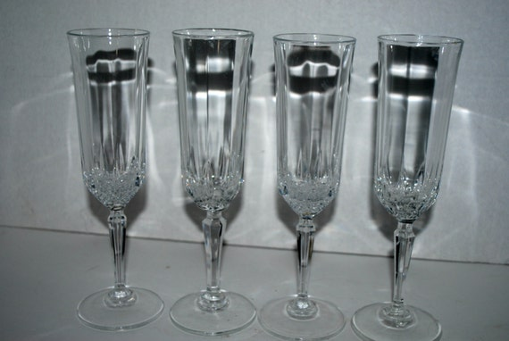 vintage champagne flutes 4 cristal d 39 arques longchamp. Black Bedroom Furniture Sets. Home Design Ideas