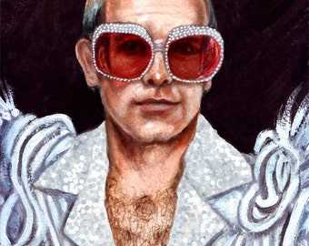 Elton John print of original painting 5x7