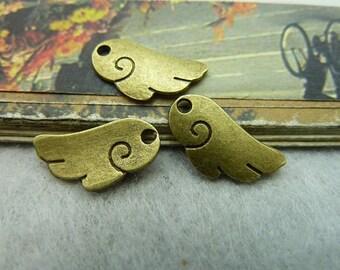 30pcs 9*17mm antique bronze angel wing charms pendant C2118