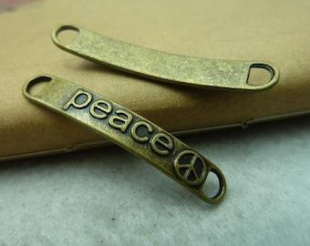 30pcs 6*38mm antique bronze peace letter link charms pendant C6201