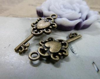 20pcs 26x11mm antique bronze key charms pendant C1485