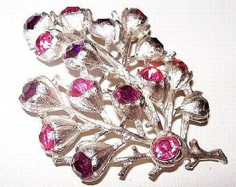 """Sarah Coventry Rhinestone Brooch Signed Pink Purple Rhinestones Flower Silver Metal 2.5"""" Vintage"""