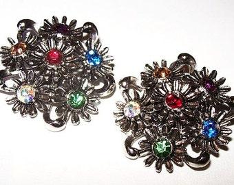 """Judy Lee Festive Clip On Earrings Multi Color Rhinestones Silver Metal Flowers 1 1/4"""" Vintage"""