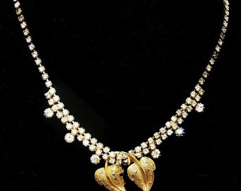 """Gold Double Leaf Bib Necklace Clear Rhinestone Chain Hook Clasp 15.5"""" Vintage 1950s-60s"""