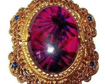 "Florenza Brooch Pin Purple Art Glass & Blue Rhinestones Filigree Gold Metal 2"" Vintage"