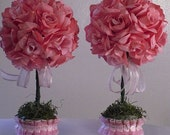 Pink Flower Arrangements, Topiary Centerpieces, Baby Shower Decorations, Majesticsilkflowers
