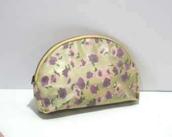Vintage 1960s Small Celebrity Brand Retro Pink Lavender Floral Travel Cosmetics Makeup Toiletries Case Pouch Bag Vinyl Toiletry Dopp Kit