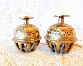 Two Beautiful India Brass Jingle Chime Claw Bells, Enamel Inlay with Etched Floral Design