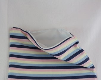 Pink, Blue, and Yellow Striped PUL Lined Wet Bag with Zipper Close