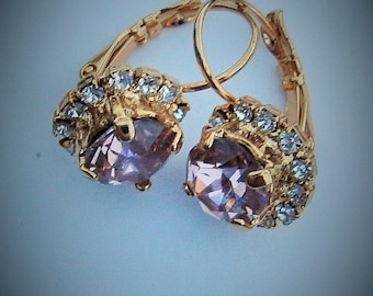 Swarovski Gold Earrings with rhinestone accents Vintage rose Swarovski 8.5mm 39ss chatons
