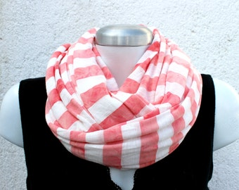 Circle scarf. Unisex Infinity scarf, cowl, scarf,  washed coral cotton jersey, lightweight and cozy,EXTRA WIDE.striped. Autumn accessory