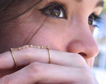 Double gold chain ring  - satellite chain ring - adjustable double ring  - chain double ring - midi ring - gold slave ring