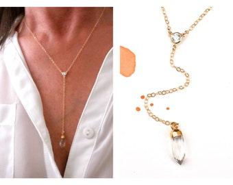 Gold Y necklace with quartz point - Quartz  Y necklace - 14K gold-filled chain  - cz connector - cz Y necklace - drop necklace