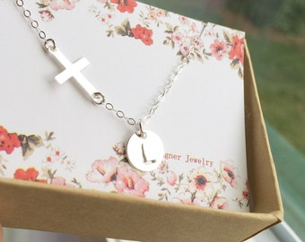 Personalized Rose Gold Filled Sideways Cross and Initial Necklace - Everyday Jewelry - All Rose Gold Filled