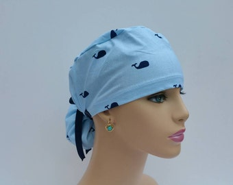 Ponytail Surgical Scrub Cap - Baby Whales - Baby Blue  -100% cotton