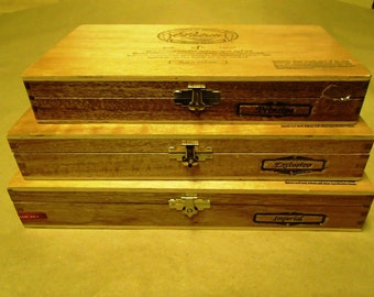 3 pc set of Padron solid Wooden cigar boxes - pyramid set