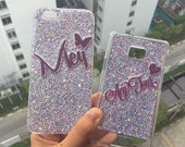 Violet glitter case for Iphone 6 /6 plus,galaxy s6 edge,iPhone 5/5s,  galaxy note2/3/4/5, S3/4/5 glitter case with your name