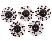Rhinestone and Black pearl Buttons, metal - Pearl Drop Button - 26mm SET OF FIVE - BLack