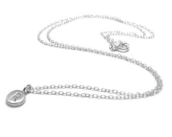 Sterling Silver Tiny Initial Pendant Necklace