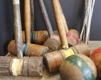 Vintage Croquet Set // Mallets // Balls // Wickets  // Stakes // Primitive Rustic