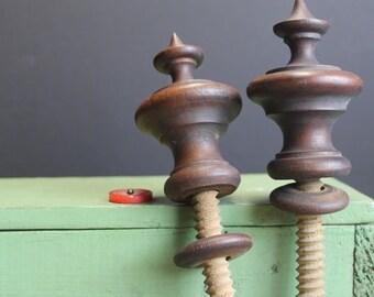 2 Vintage Wood Finials // Turned Wood