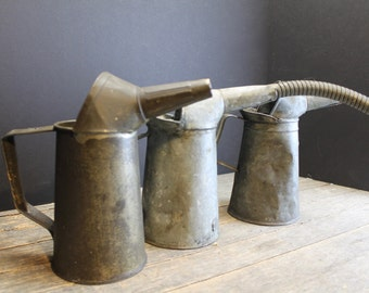 3 Vintage Tin and Galvanized Metal Oil Cans // Quart Size // Cool Old Oil Cans