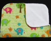 Elephants Burp Cloth, Baby Burp Cloth, Green, Pretty Baby, Flannel Burp Cloth