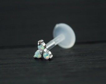 Trinity White opal push in 16gauge bio flexible Tragus / lip labret / cartilage/ helix / Monroe