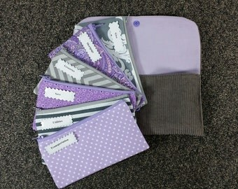 Budget Envelope wallet, Cash Budget System -Gray n Lilac (It can be used with the Dave Ramsey system)