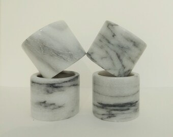 4 MARBLE NAPKIN RINGS - Shades of Gray - Genuine Carved Stone - Formal Dining