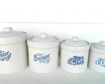 Vintage Kitchen Canister Set Blue White Pfaltzraff Yorktowne